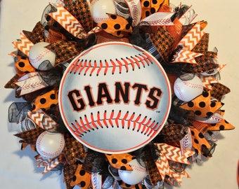 San Francisco Giants wreath, Giants wreath, Giants decor, San Francisco Giants  decor, Giants  baseball wreath, San Francisco Giants