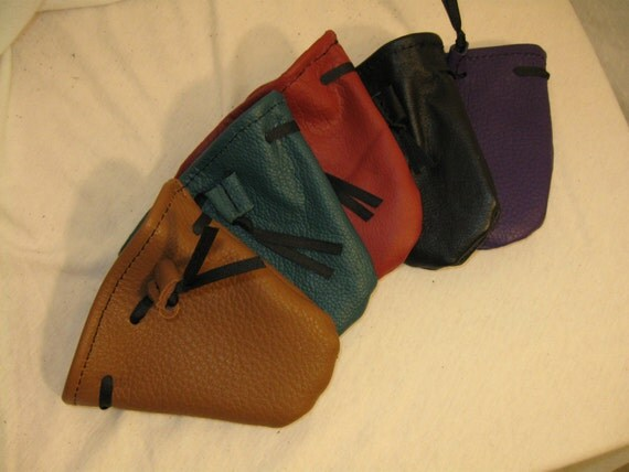 """5 1/2"""" x 4"""" Leather Dice Bag or Pouch"""