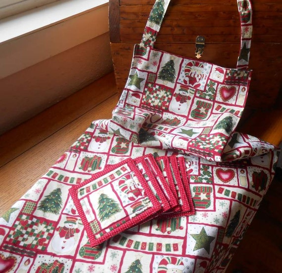 Christmas Apron Plus 6 Matching Coasters Holiday Print Fabric
