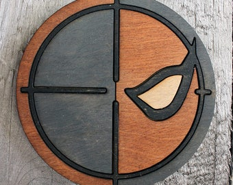Deathstroke Wood Coaster | Rustic/Vintage | Hand Stained and Glued | Comic Book Gift | Batman Villain