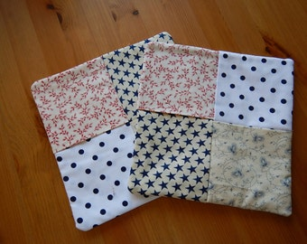 Pot Holders - Oven Mitts - Red, White & Blue! - Blue Dots - Red Strips - 4th of July - Patriotic - Kitchen Mats - Cooking