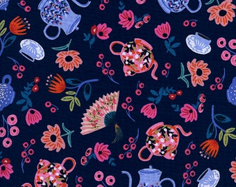 Wonderland - Garden Party Navy - Rifle Paper Co - Cotton and Steel (8019-01)