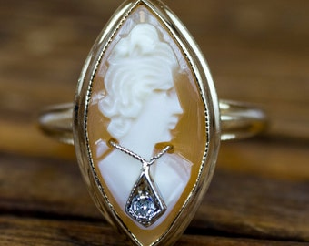 Edwardian 1900's 10k Gold Cameo Ring with Diamond