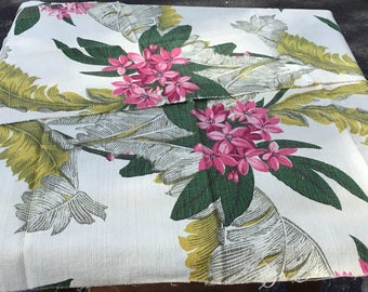 Bark Cloth Fabric with Ferns and Flowers