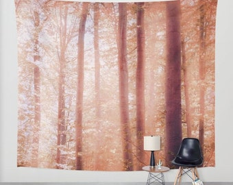 Into The Woods - wall tapestry, wall hanging, forest tapestry, nature theme, bohemian, trees, leaves, autumn, three sizes