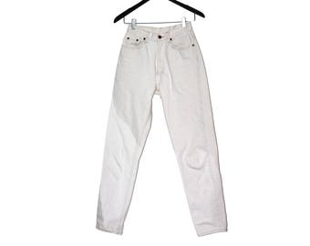 1980s vintage white denim high waist jeans - vintage clothing