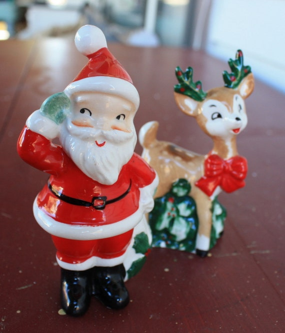 Reduced Lefton Christmas Santa Reindeer Salt Amp Pepper Shakers