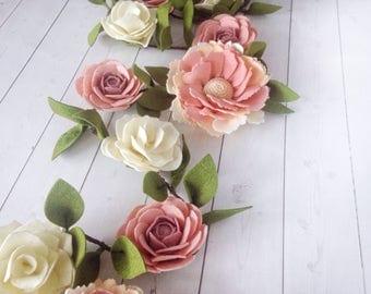 Elegant Flower Garland - Felt Flower Garland for Birthday - Garden Tea Party Decor - Secret Garden Party Garland - Rose Garland