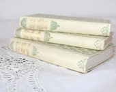 Vintage French Books, Antique Books, Original Nelson Editions, Decorative Book Set, Set of 3 Books, 1920s, Canvas Book Cover, French Antique