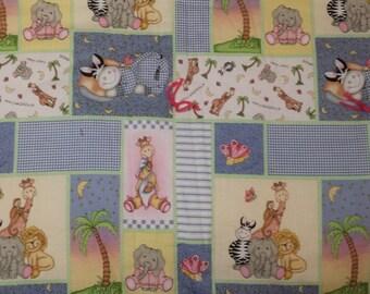 Baby Quilt:  Little girls patchwork wild animals