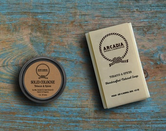 Tobacco & Spices Solid Cologne and Natural Soap combo, Vegan, Alcohol Free, Handcrafted Soap + Solid Cologne