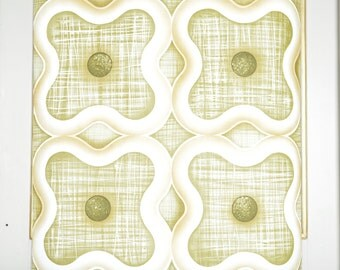 Paper roll painted, geometric pattern in shades of green, seventies, France
