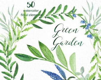 Green garden Elements. Watercolor clipart  collection. Green branches and leaves. Light green branches, wedding invitation, olives, rosemary