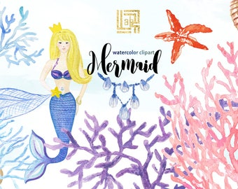 Mermaid watercolour clipart. Underwater life hand draw watercolour illustrations.  Mermaid tail watercolor clipart.