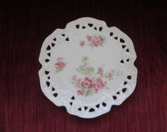 Vintage Cottage Chic Pink Carnation Plate/Reticulated/Pierced Edge/Display Plate/Cabinet Plate/January Flower of the Month  #16193
