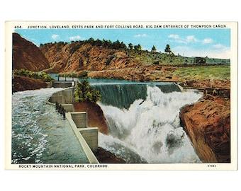 Rocky Mountain National Park Colorado vintage postcard | Big Thompson River, Canyon Dam | 1930s CO travel scrapbook, hometown decor