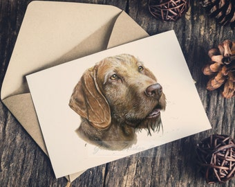 Hungarian Wirehaired Vizsla Portrait A5 Greeting Card // Vizsla Gift // Blank Greeting Card // WHV // Vizsla Gift // Wire Vizsla Art Card