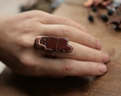 Statement ring from red jasper, handmade statement ring, electroformed semi precious stone, irregular form, resizable wide ring, electroform
