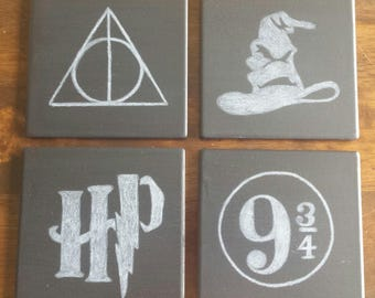 Harry Potter Chalkboard Coasters, gifts, fans, home decor