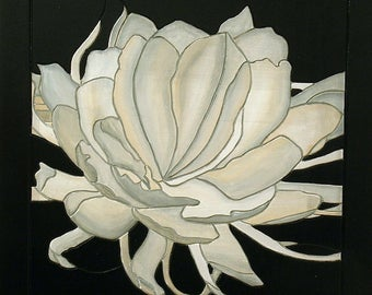 White Flower, Wood Wall Decor, Wall Art, Minimalist Wall hanging