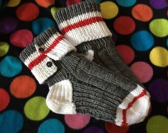 Sock monkey slipper socks - adult