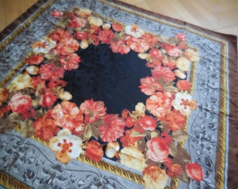 Silk scarf Pierre Cardin.  Flower subject. Square shape. French Vintage