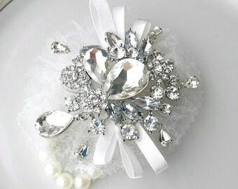 Wrist Corsage, Rhinestone Brooch, Charms, Corsage Bracelet, Flower Girl, Prom, Bridal Wedding, Mother, Bridesmaid, Corsage Cuff, Bridal Cuff