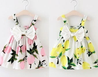 Girls Lemon Dress-Fun Summer Dress-Girls Clothing-Cute Dresses- Baby Girls Outfits-Pink Lemonade Dress-Yellow Lemon Dress