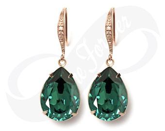 Rose Gold Bridesmaid Earrings Emerald Earrings Green Earrings Bridal Jewelry Rose Gold Bridal Jewelry Wedding Earrings Bridesmaid Gift