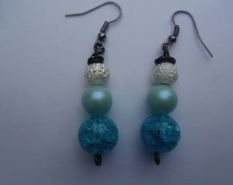 Blue and white Earrings, Drop earrings, Beaded Earrings