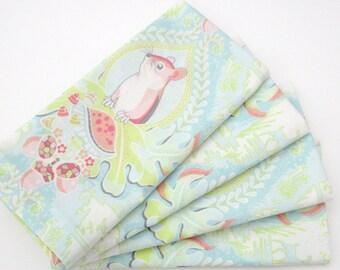 Large Cloth Napkins - Set of 4 - Chipmunks Toadstools Acorns Woodland Forest - Everyday, Dinner, Table, Wedding