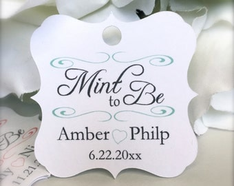 Mint to be, mint favor tags, wedding favor tags, engagement tags, bridal shower tags - set of 30(tg23)