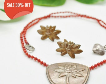 Lotus flower silver 925/bronze pendant red corals necklace and earrings SALE 30% OFF