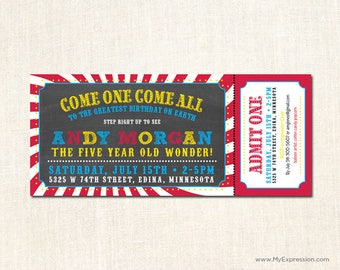 Chalkboard Circus Ticket Birthday Invitations - Digital or Printed
