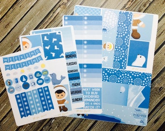 Eskimo Boys Weekly Planner Stickers, Winter Snow Stickers, Full Kit Planner Stickers, for use with Erin Condren Life Planner, Happy Planner