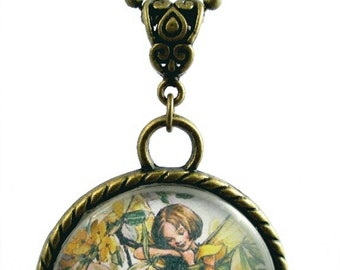 Charming Flower Fairy Pendants ~  Antique Gold Ball Chain ~ Laburnum - Guelder Rose - Holly ~ Golden Gift Tin Included