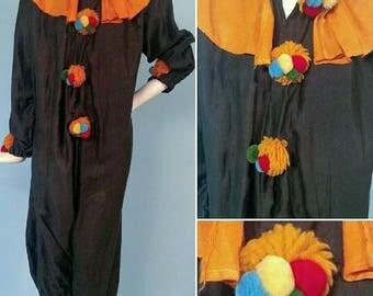 Rare Antique 1920s Clown Costume with Pom Poms!
