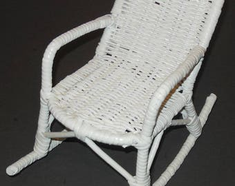 White Wicker Rocking Chair Rocker for Doll or Teddy Bear 10 Inch Toy