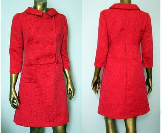 Red Jackie O 1960s Mod suit dress SM