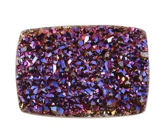 Purple Drusy Quartz Cushion Cabochon Loose Gemstone 1A Quality 14x10mm TGW 4.40 cts.