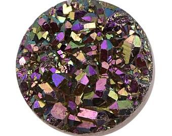 Purple Drusy Quartz Round Cabochon Loose Gemstone 1A Quality 7mm TGW 0.75 cts.