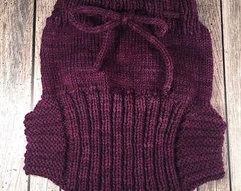 Custom Wool Soaker - Hand Knit Wool Soaker - Wool Diaper Cover - Purple Cover - Purple Wool Diaper Cover