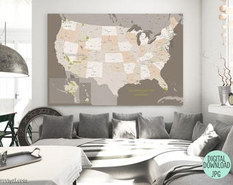 Us National Park Map Etsy - Wall map of us national parks