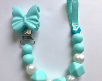 Chompy Paci Clip With Butterfly-Turquoise