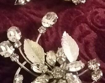 Vintage Bling Earrings & Pin Set
