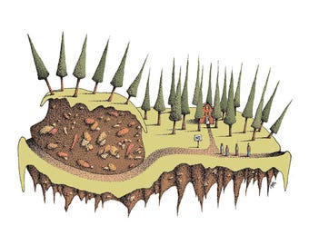 Illustration Art Print Illustration Prints Illustrations Forest Ink Drawing Mixed Media Giclee Print