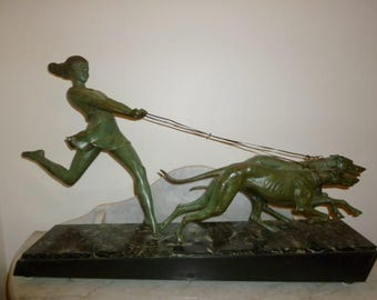 Huge French Art Deco verdigris sculpture Lady and Borzoi dogs marble base LEVERRIER FAYRAL circa 1920