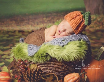 Crochet Pumpkin Hat Newborn Photography Prop/Infant Halloween Costume/Fall Hat/Crochet Beanie/Baby Shiwer Gift