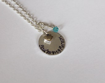Grey's Anatomy You're My Person Necklace, Hand-Stamped Jewelry, Aluminum Stamped Disc, Swarovski Crystal in Color of Your Choice