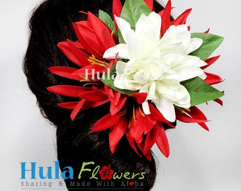 Silk Tuberose and Spider Lily Hair Clip For Polynesian Dancers, Wedding accessories, CM1-57